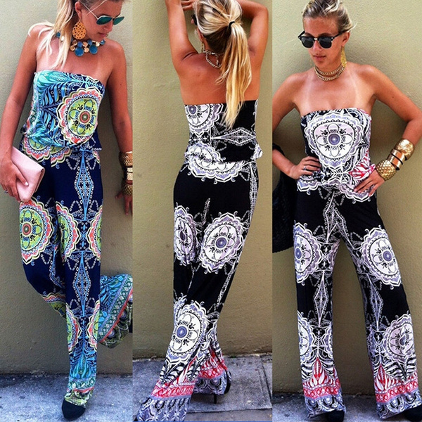 Picture of Boho Sexy Floral Print Playsuit Bandeau Palazzo Long Pants Jumpsuit