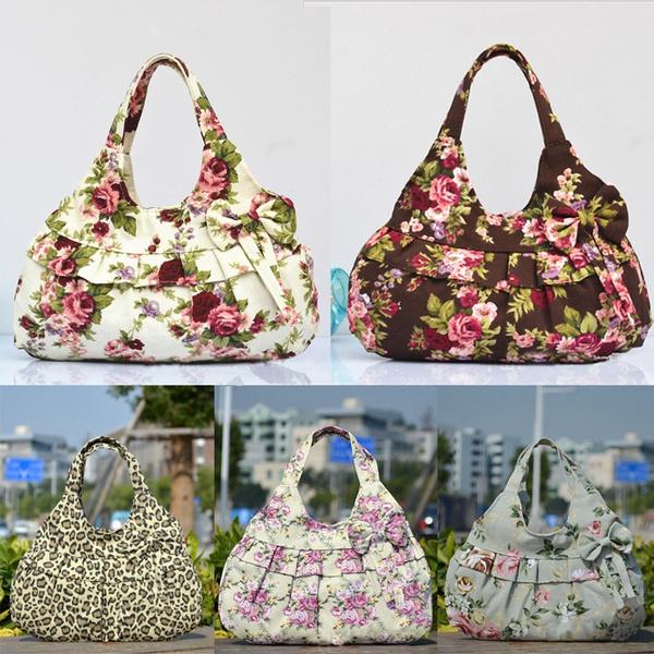 Picture of Women Sweet Floral Flower Leopard Print Canvas Zipper Casual Handbag Bag