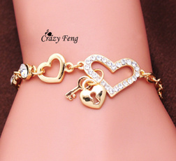 goldplated, Heart, wholesaleladiesbraceletproduct, Jewelry