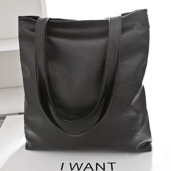 Picture of Women Hobo Shoulder Bag Faux Leather Satchel Tote Women Large Handbag Color Black
