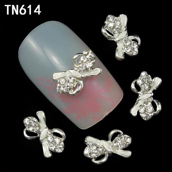 Wish | Blueness 10pcs Colorful Bows Shape Alloy 3D Glitter Nail ...