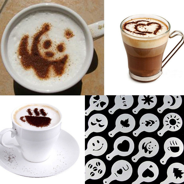 Picture of Hot 16pcs Coffee Latte Art Stencils Diy Decorating Cake Cappuccino Foamtool Cn Color White