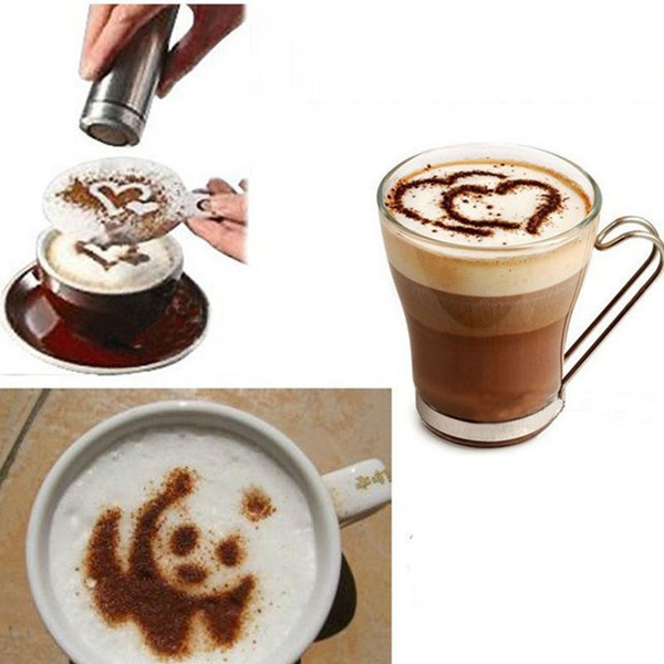 Hot 16Pcs Coffee Latte Art Stencils DIY Decorating Cake Cappuccino FoamTool CN