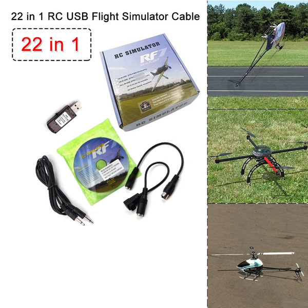 Newest 22 in 1 RC USB Flight Simulator Cable for Realflight G7 G6 G5 5 G5  Phoenix 5 0 Upgraded Simulate Helicopter Quadcopter