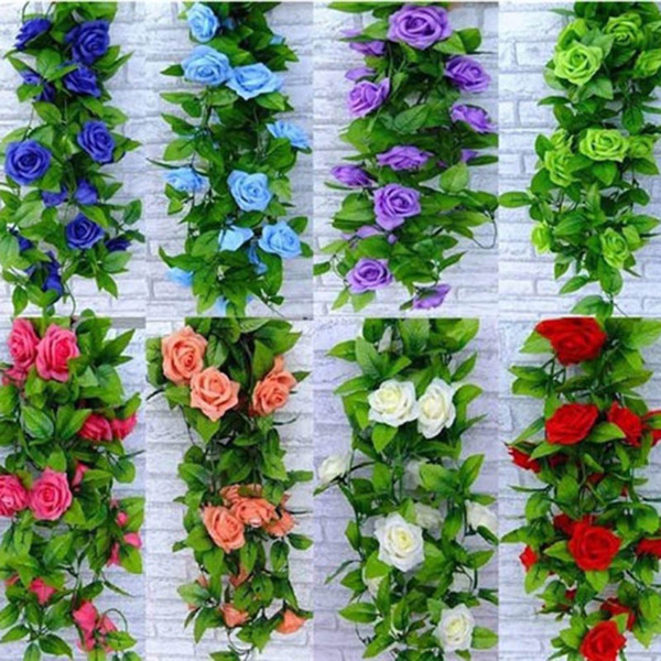 Picture of 8ft Artificial Fake Silk Rose Flower Ivy Vine Hanging Garland Wedding Home Decor