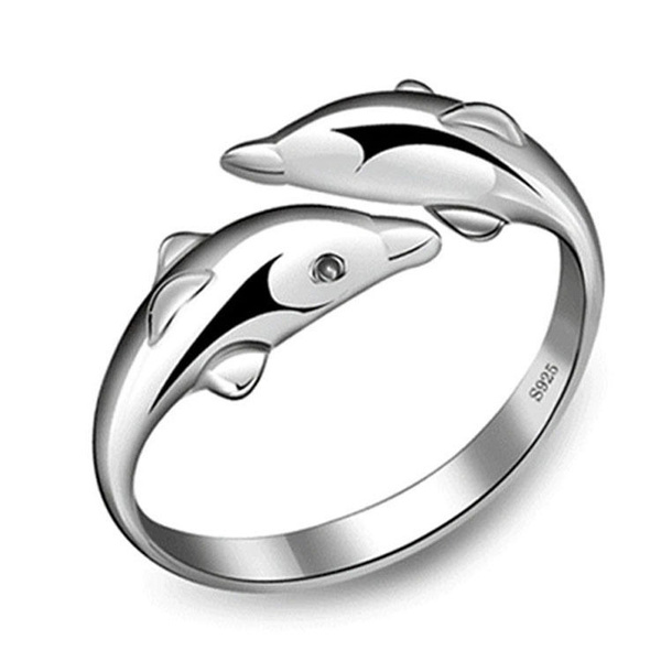 Picture of New Fashion 925 Sterling Silver Double Dolphin Opening Adjustable Rings
