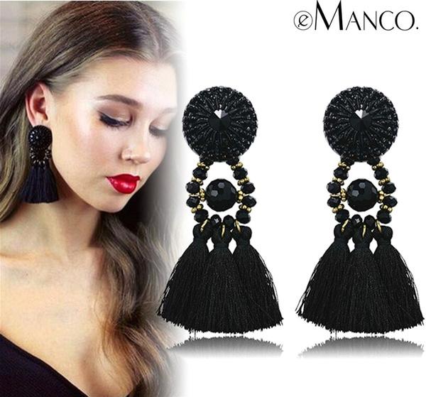 Black Earrings, danglestudearring, Fashion, longdangleearring