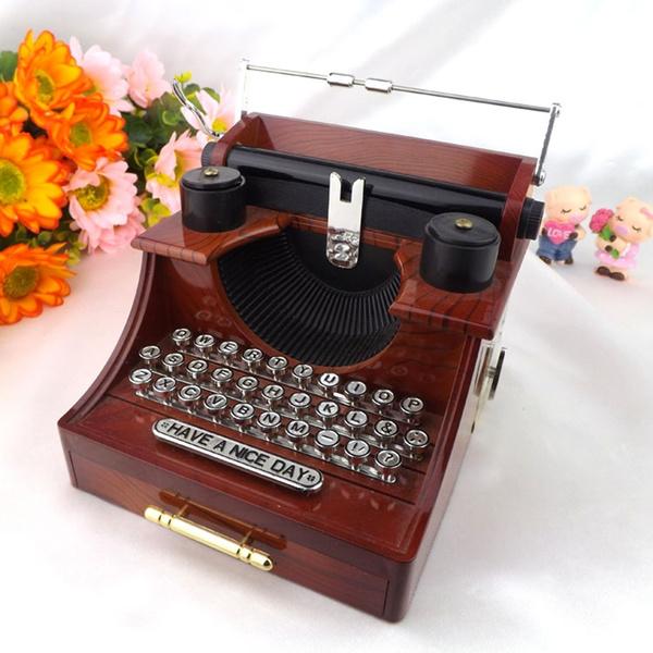 Picture of Novelty Retro Hand Crank Movement Drawer Typewriter Music Box Musical Jewelry Box
