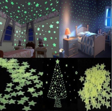 100pcs Home Wall Green Glow Light Star florescent light Stickers Decal Kids Room