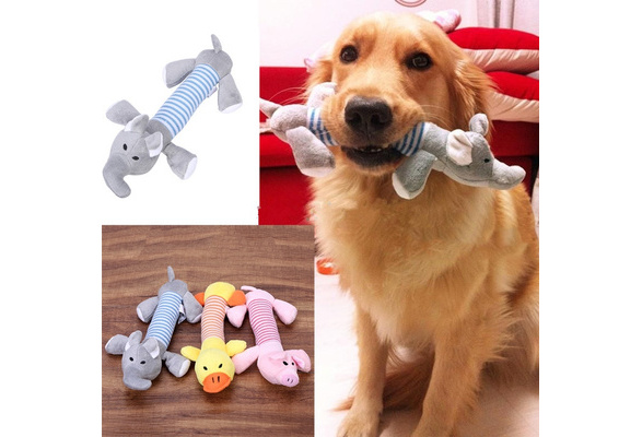 New Dog Toys Pet Puppy Chew Squeaker Squeaky Plush Sound Duck Pig Elephant Cute Toys 3 Types | Wish