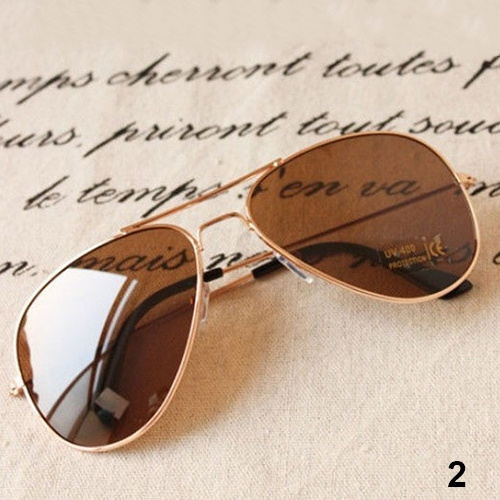 Picture of Women's Men's Classic Exquisite Aviator Silver Mirrored Lens Brown Gold Black Cool Sunglasses