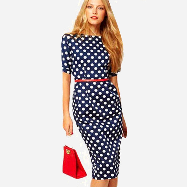 Wish Ihot Brand New Women Work Wear Formal Office Dresses Las Elegant Print Casual Bodycon Polka Dot Party Pencil