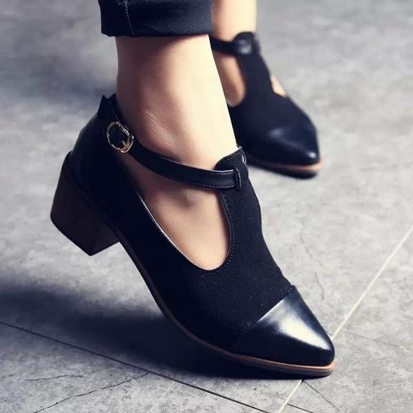 Picture of Women Heels Retro Ladies Shoes Women High Heels Wood Chunky Heel Pointed Toe High Heels T-strap Solid Women Pumps