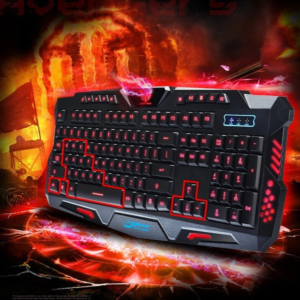 Picture of 3-colors Backlight Usb Wired Keyboard Mechanical Hand Felling Aggravate Gaming Keyboard Computer Luminescent Keyboard