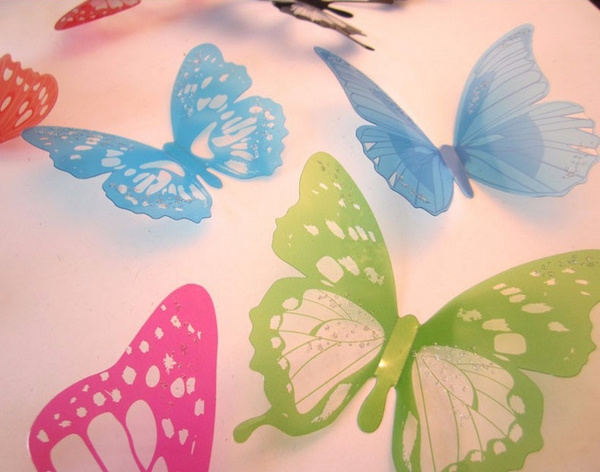 Wish | 2015 Hot Sale 12pcs PVC 3d Butterfly wall decor cute ...