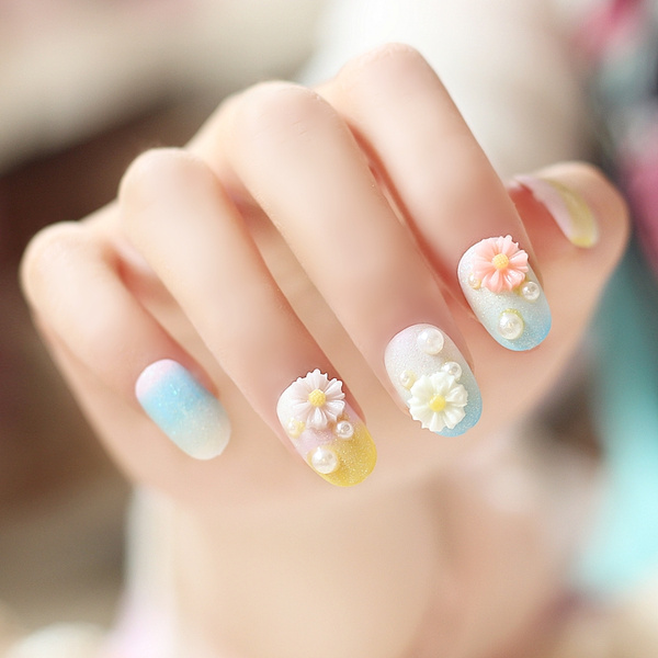 Wish | High quality summer day candy color daisy false nails kit ...