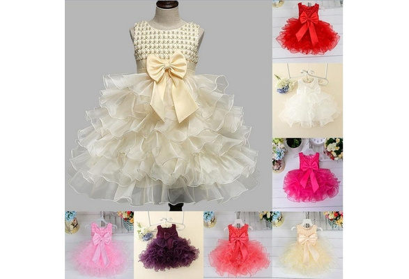 iEFiEL Princess Baby Girls Toddler Lace Tutu Beading Dress Layered Skirt Party Wedding Bow Formal 3D Flower Dresses
