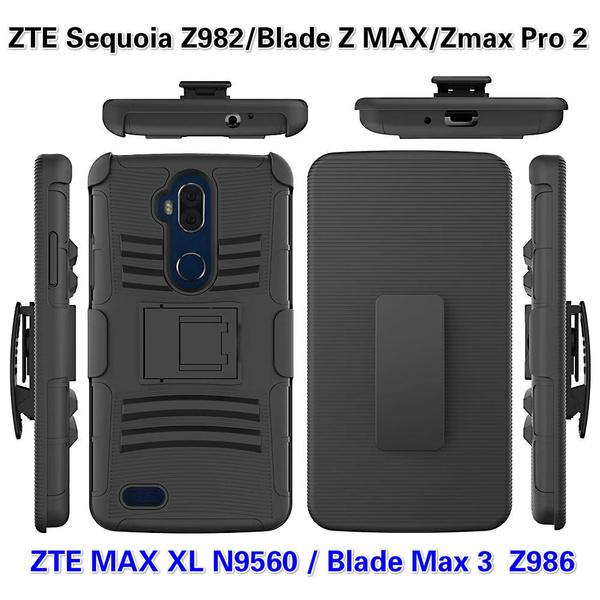 sale retailer 30b79 e9c11 ZTE Sequoia Z982 / ZTE Blade Z MAX / ZTE Zmax Pro 2 case, ZTE MAX XL N9560  / Blade Max 3 Z986 Case,[Heavy Duty] Armor Shock Proof Dual Layer [Swivel  ...