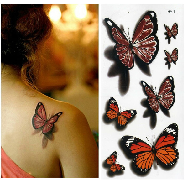 Elf Makeup Jewelry Colorful 3d Butterfly Red Rose Flower Angel Tattoo Sticker Women Body Temporary Art Tattoos Tato