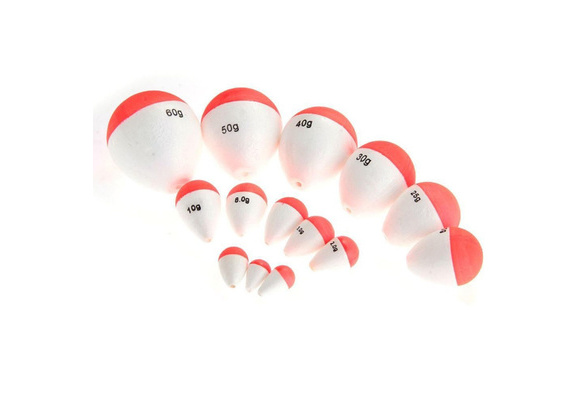 14Pcs Polystyrene Fishing Floats Fishing Accessory with White Red Sticks