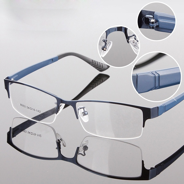 Picture of Gentry Mens Eyewear Metal Half Rim Designer Clear Lens Eye Glasses Frame