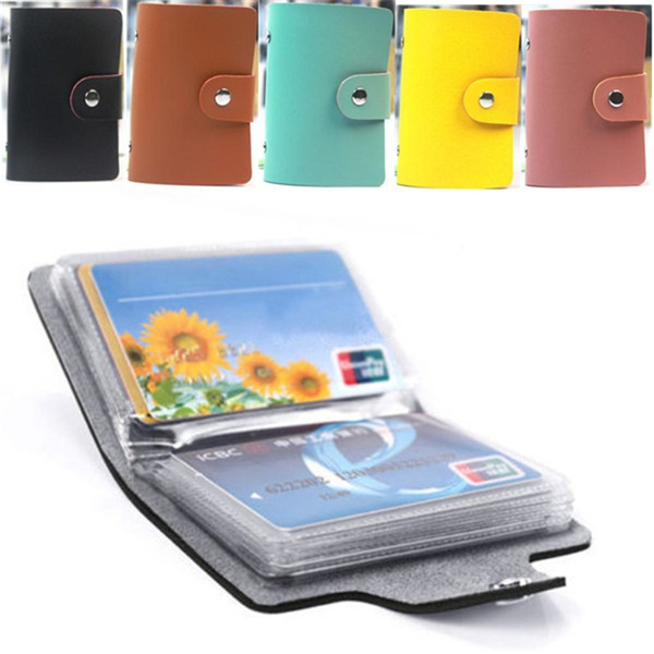Picture of Pu Leather Pocket Business Id Credit Card Holder Case Wallet For 24 Cards