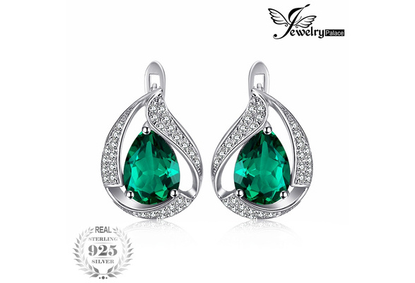 JewelryPalace Pear 3.7ct Created Green Nano Russian Emerald Clip On Earrings Solid 925 Sterling Silver