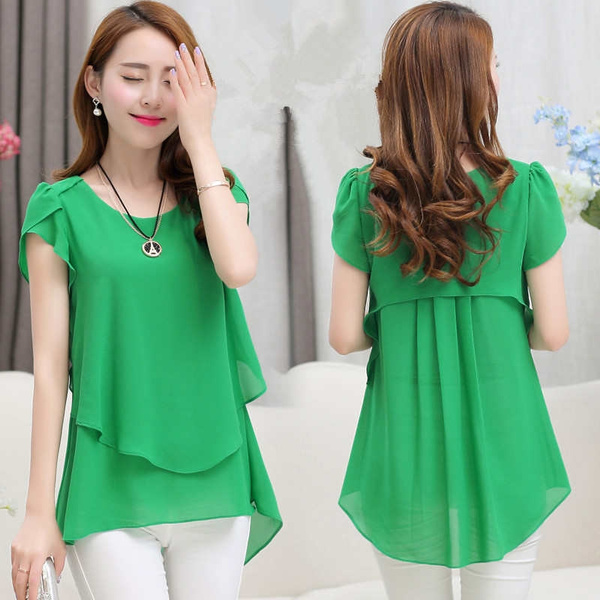 Picture of Fashion Short Sleeve Chiffon Blouse.