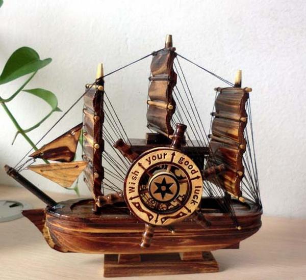 Wooden pirate ship rotating windmill music box