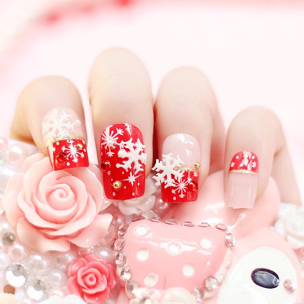 Wish | High quality Merry Christmas snowflake prnited false nails ...