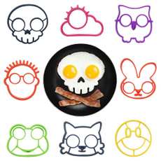 Silicone Funny Side Up Skull Owl Bunny for Pick Egg Fried Frying Mould Breakfast Pancake Mold Ring