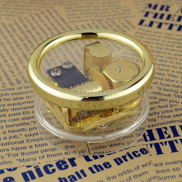Picture of Acrylic Cylinder Musical Box Windup Music Box 18 Notes Movement Gold Melody Castle In The Sky