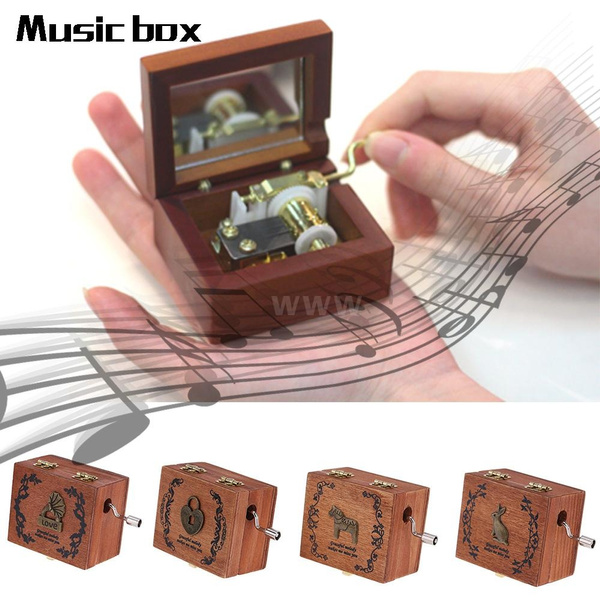 Picture of New Arrival Retro Wooden Musical Box Hand Crank Music Box Exquisite Workmanship 4 Patterns For Option Musical Instrument