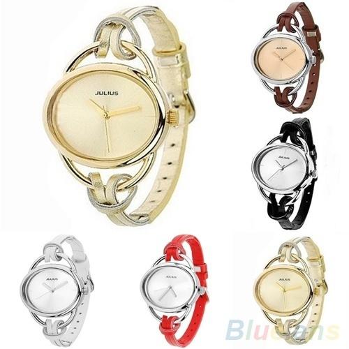 Picture of Men Women's Fashion Oval Slim Leather Strap Bracelet Analog Quartz Casual Vintage Wrist Watch