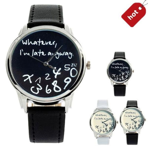 Picture of Fashion Funny Women Men Analog Quartz Whateveri M Late Anyway Wrist Watch