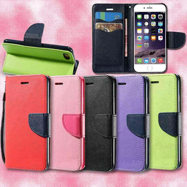 Picture of Double Color Safe Buckle Card Slot With Wallet Matte Pu Leather Case For Apple Iphone 4s/5/5c/6/6plus 7/7 Plus Samsung Galaxy Note 3 4 5 S4 S5 S6 S7 S8 Edge Plus