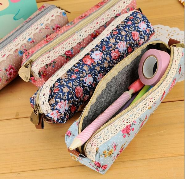 Picture of 1pc Mini Retro Flower Floral Lace Pencil Casepencil Bag Cosmetic Makeup Bag Zipper Pouch Purse