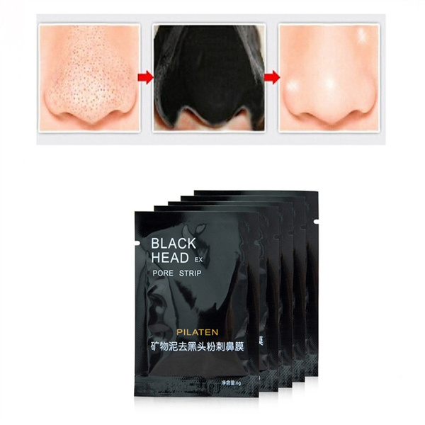 Picture of 10 Pcs Pilaten Face Care Facial Minerals Conk Nose Blackhead Remover Mask Pore Cleanserdeep Cleansing Black Head Strip Pilaten Color Black