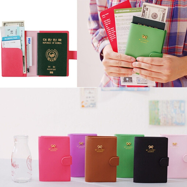 Picture of Travel Fashion Bowknot Passport Card Protector Cover Pu Leather Holder Wallet