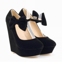 WOMENS SEXY SUEDE HIGH HEELS BOW WEDGES SHOES PLATFORM STRAPPY AUTUMN SUMMER SIZE US 5-10 391-3VE
