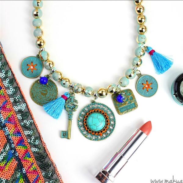 beadschainnecklace, chokercollarnecklace, Tassels, turquoisependant