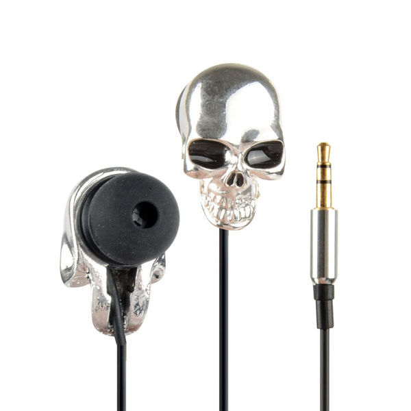 Picture of Cool Silver Skull Heads 3.5mm Port Metal Headset Earphones For Phone Mp3 Ipad F298b