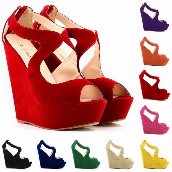 Picture of New Elegant Ladies Platform Peep Toe Velvet High Heels Wedge Shoes Sandals Size Us4-11