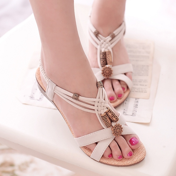 Picture of Fashion Lady's Summer Bead Low Heel Wedge Sandal
