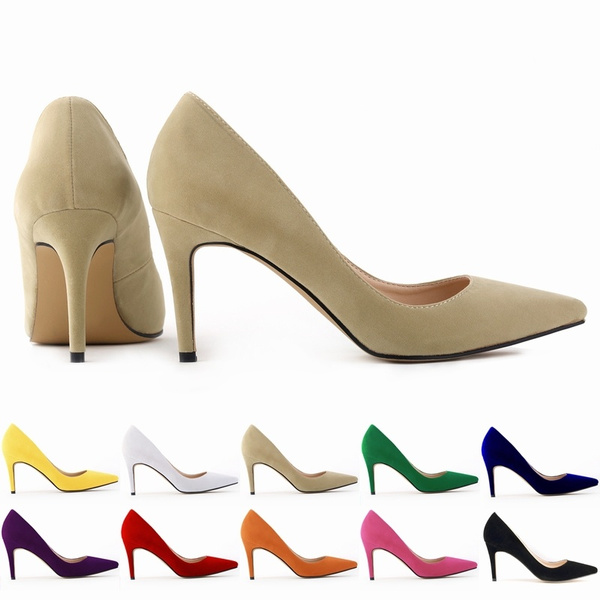 Picture of Classic Sexy Pointed Toe Mid High Heels Women Pumps Shoes Faux Suede Spring Brand Wedding Pumps Big Size 35-42