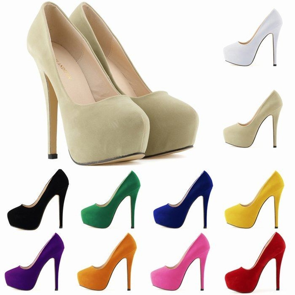 Picture of New Womens High Heels Party Court Shoes Flock Concealed Pumps Platform Pointed Toe Shoes Us Size Us4-11