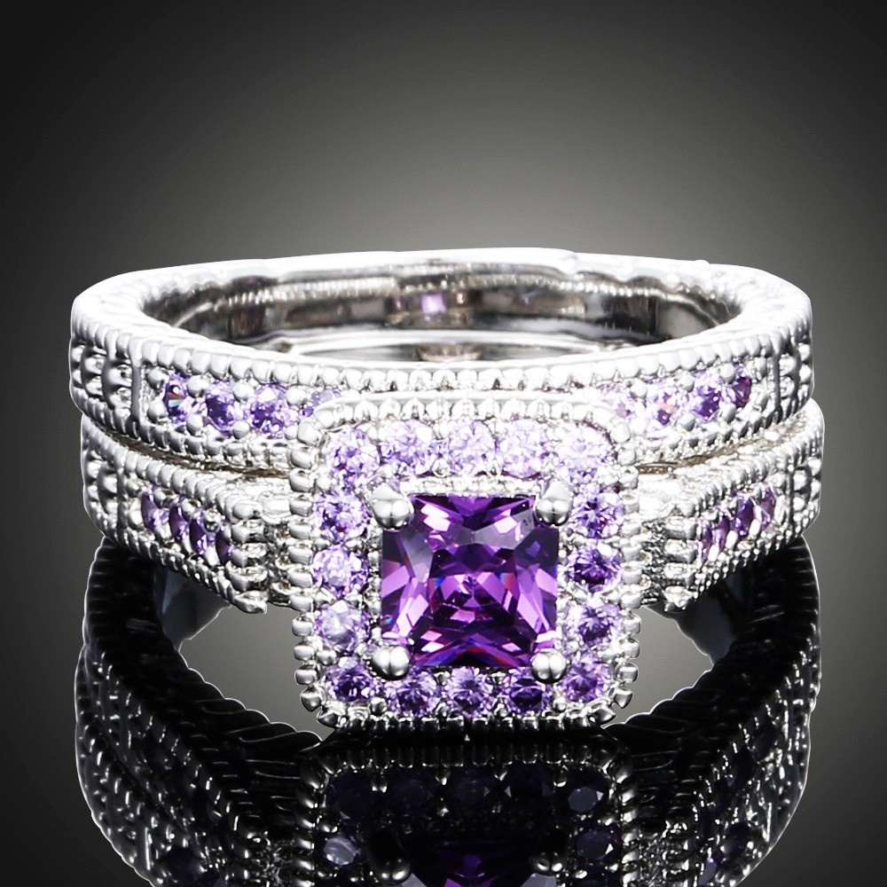 10kt white gold filled amethyst princess cut wedding for Amethyst diamond wedding ring set