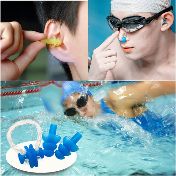 Soft Silicone Swimming Nose Clips + 2 Ear Plugs Earplugs Gear with a case box Pool Accessories Water Sports