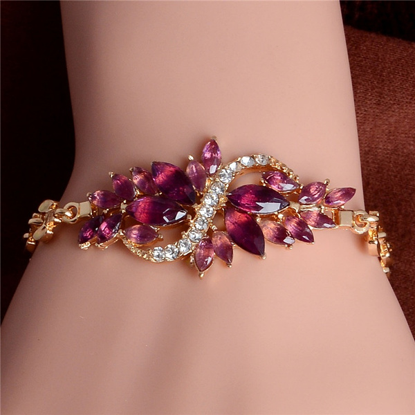 goldplated, czstonesbracelet, Fashion, leaf