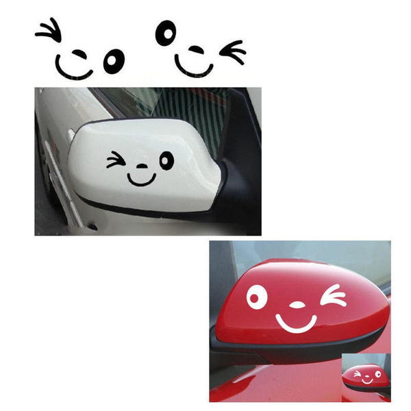 2 pcs/ set Funny Rearview Mirror Car Stickers Reflective Smiling Face Sticker/Decal